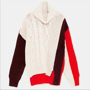Zara Chunky Colorblock Knit Turtleneck Sweater